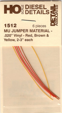 "HO Scale Detail Associates 1512 MU Jumper Cable .020"" Vinyl 3"" Long pkg (6)"