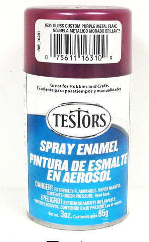 Testors 1631 Purple Metal Flake Enamel 3 oz Spray Paint Can