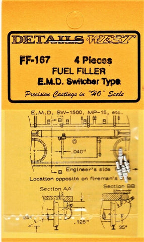 HO Scale Details West FF-167 Fuel Fillers EMD Switcher Type pkg (4)