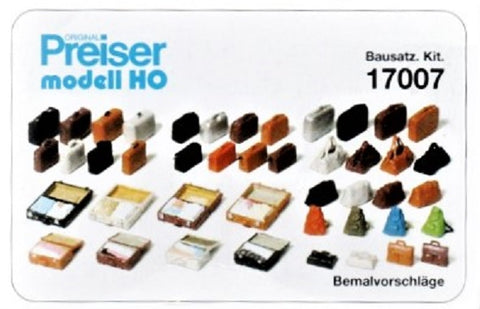 HO Scale Preiser Kg 17007 Passenger Luggage Detail/Figure Set