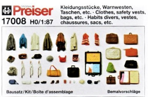 HO Scale Preiser Kg 17008 Clothes, Safety Vests, Bags, Etc Detail/Figure Set