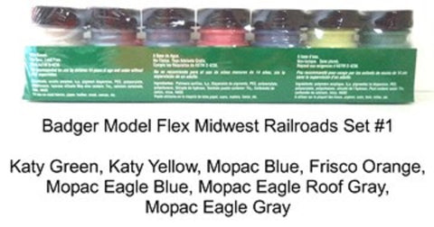 Badger Model Flex 1707 Midwest Railroads #1 (7) 1 oz Acrylic Paint Bottle Set