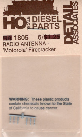 HO Scale Detail Associates 1805 Motorola Firecracker Radio Antenna pkg (6)