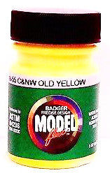 Badger Model Flex 16-55 C&NW Chicago Northwestern Old Yellow 1 oz Acrylic Paint Bottle