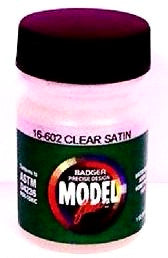 Badger Model Flex 16-602 Clear Satin Overcoat 1 oz Acrylic Paint Bottle