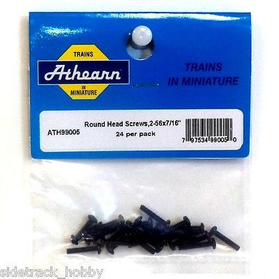 "HO Scale Athearn 99005 Round Head Screw, 2-56 x 7/16"" (24) pcs"