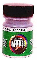 Badger Model Flex 16-32 ATSF Santa Fe Silver 1 oz Acrylic Paint Bottle