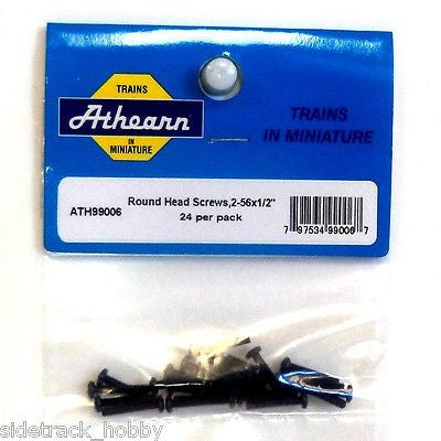 "HO Scale Athearn 99006 Round Head Screw, 2-56 x 1/2"" (24) pcs"