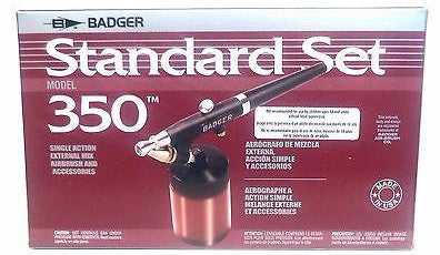 Badger 350-3 Single Action External Mix Airbrush Standard Set w/Propel
