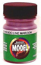 Badger Model Flex 16-18 Soo Line Maroon 1 oz Acrylic Paint Bottle