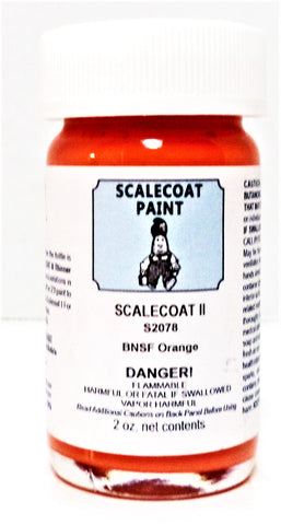 Scalecoat II S2078 BNSF Burlington Northern Santa Fe Orange 2 oz Enamel Paint