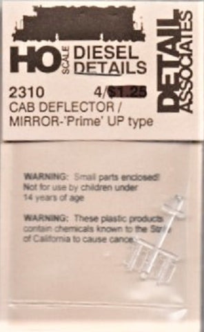 HO Scale Detail Associates 2310 Cab Air Deflectors Prime w/Mirror-UP Type pkg(4)