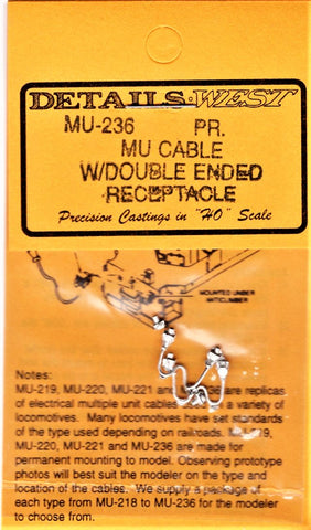 HO Scale Details West MU-236 MU Cables Double-Ended Receptacle & Two Receptacles