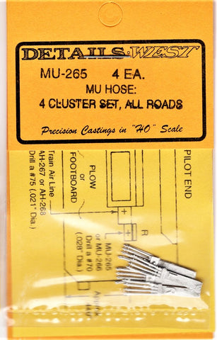 HO Scale Details West MU-265 MU Cables 4-Cluster, All Roads pkg (4)