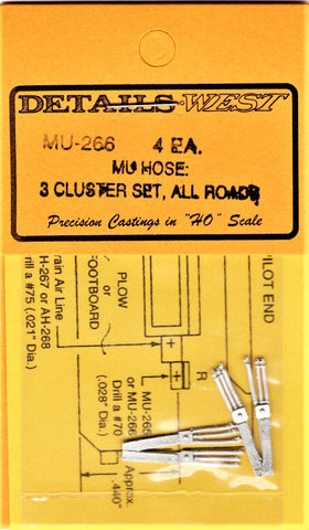 HO Scale Details West MU-266 MU Cables 3-Cluster, All Roads pkg (4)