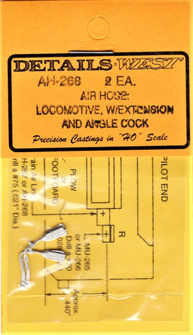 HO Scale Details West AH-268 Locomotive Air Hose w/Extension & Angle Cock pkg(2)