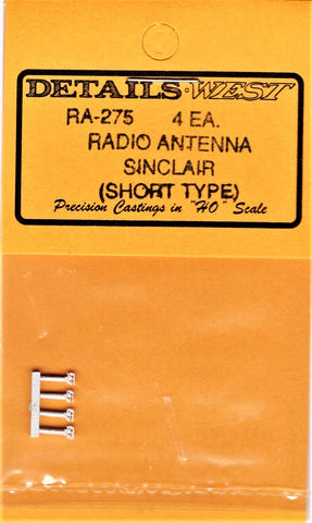 HO Scale Details West RA-275 Sinclair Radio Antenna Short Type pkg (2)