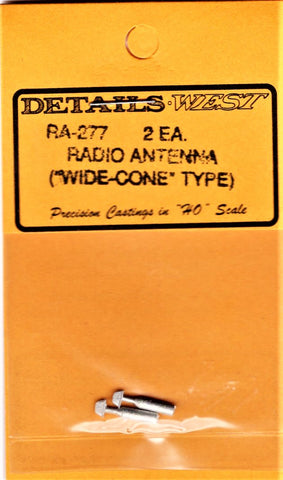 "HO Scale Details West RA-277 Radio Antenna ""Wide Cone"" Type pkg (2)"