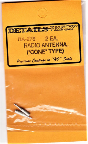 "HO Scale Details West RA-278 Radio Antenna ""Cone"" Type pkg (2)"