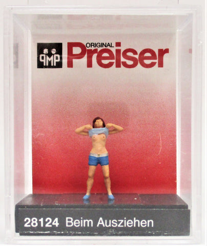 HO Scale Preiser Kg 28124 Lady Undressing/Raised Shirt Figure