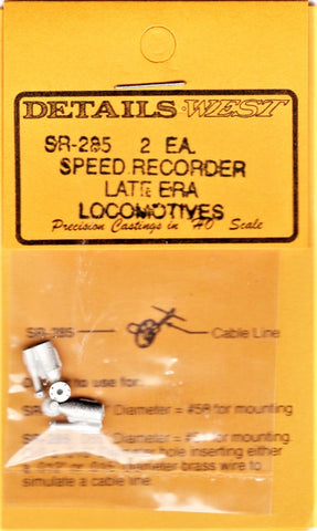 HO Scale Details West SR-285 Late Era Locomotive Speed Recorder pkg (2)