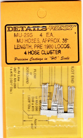"HO Scale Details West MU-295 MU Hoses 4-Cluster 36"" Pre-1980 Locomotives pkg (4)"