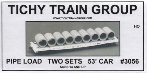 HO Scale Tichy Train Group 3056 53' Flatcar Pipe Load (18) Pieces