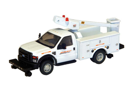 HO Scale River Point Station Ford F-450 XL BNSF Hi-Rail Bucket Truck w/Regular Cab & Dual Rear Wheels
