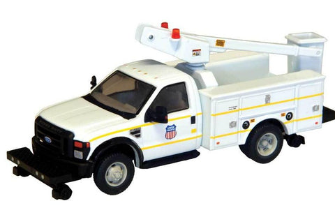 HO Scale River Point Station Ford F-450 XL Union Pacific Hi-Rail Bucket Truck w/Regular Cab & Dual Rear Wheels