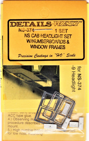 HO Scale Details West NS-374 Cab Headlight w/Numberboard & Window Frames NS