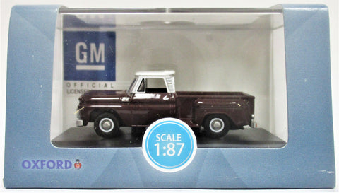 HO Scale Oxford Diecast 87CP65003 1965 Chevrolet Metallic Maroon Stepside Pickup