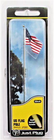 All Scale Woodland Scenics JP5951 Just Plug Medium Waving US Flag on Pole