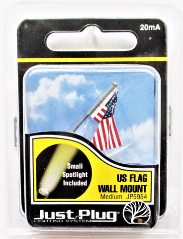 All Scale Woodland Scenics JP5954 Just Plug Medium Waving US Flag Wall Mount