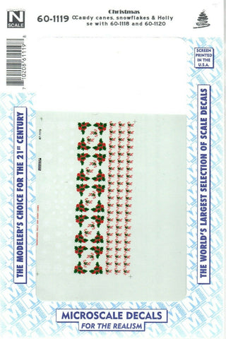N Scale Microscale 60-1119 Christmas Candy Canes, Snowflakes, & Holly Decal Set