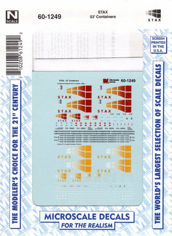 N Scale Microscale 60-1249 STAX 53' Containers Decal Set