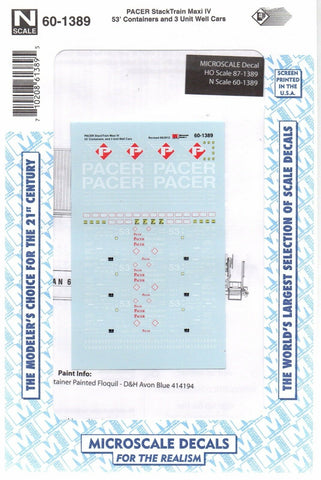 N Scale Microscale 60-1389 Pacer Stacktrain 53' Containers & Well Cars Decal Set