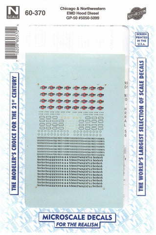 N Scale Microscale 60-370 C&NW Chicago & Northwestern GP50 Diesel Decal Set