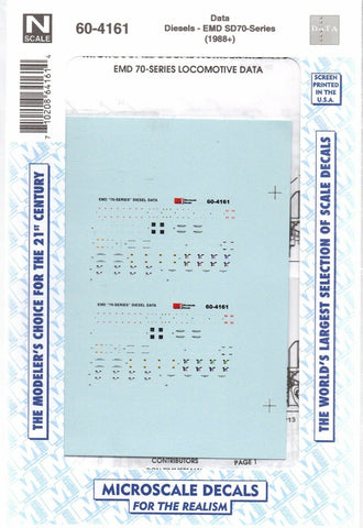 N Scale Microscale 60-4161 Diesel Data for EMD 70-Series Decal Set