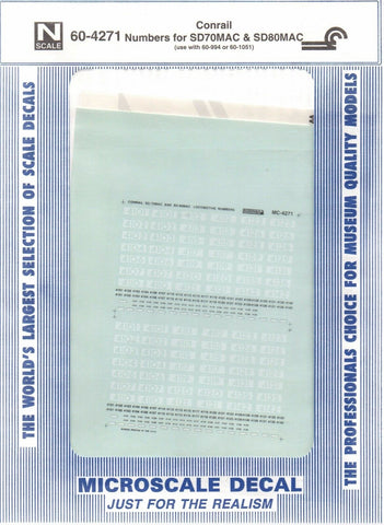 N Scale Microscale 60-4271 CR Conrail SD80MAC Diesels Decal Set