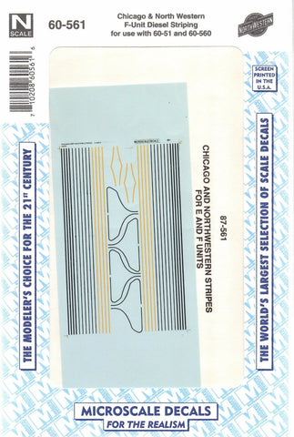 N Scale Microscale 60-561 C&NW Chicago & Northwestern F Unit Striping Decal Set