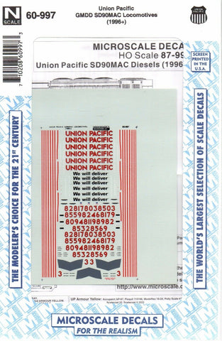 N Scale Microscale 60-997 UP Union Pacific SD90MAC Diesels,Decal Set