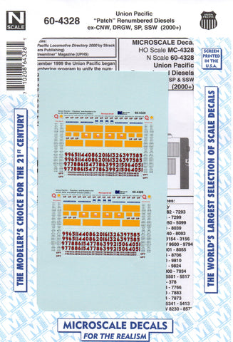 N Scale Microscale 60-4328 UP Union Pacific Patch Renumbered ex-CNW SP Decal Set