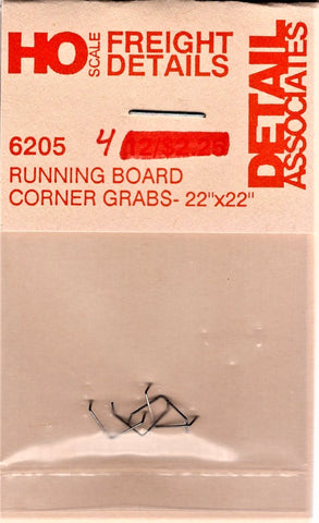 HO Scale Detail Associates 6205 Freight Car Running Board Corner Grab Irons (4)