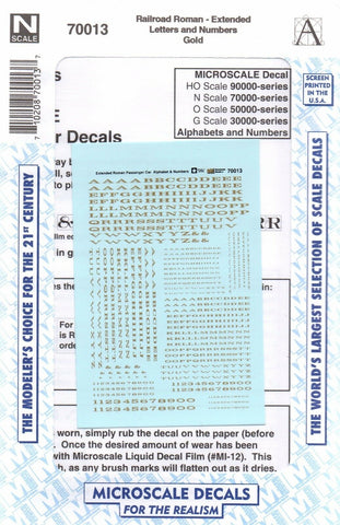 N Scale Microscale 70013 Gold Extended Railroad Roman Letters/Numbers Decal Set