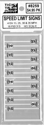HO Scale Tichy Train Group 8259 15, 25, 30 & 40 mph Speed Limit Signs pkg (16)