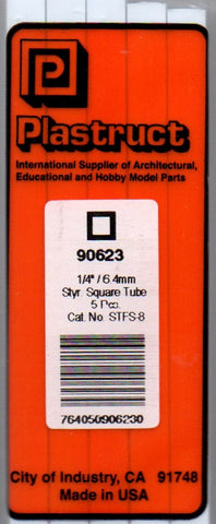 "Plastruct PLS 90623 STFS-8 Styrene Square Tube 1/4"" (5) pcs"