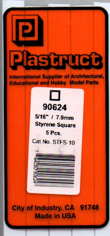 "Plastruct PLS 90624 STFS-10 Styrene Square Tube 5/16"" (6) pcs"