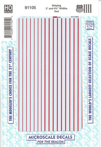 "HO Scale Microscale 91105 UP Union Pacific 3"" & 4 3/4"" Wide Red Stripes Decal"