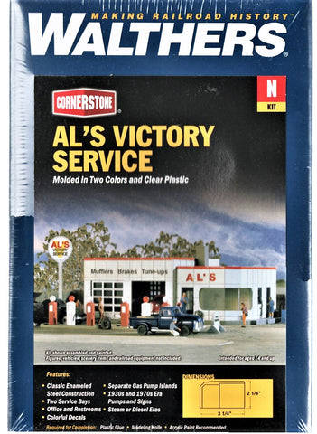 N Scale Walthers Cornerstone 933-3243 Al's Victory Service Building Kit