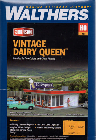 HO Scale Walthers Cornerstone 933-3484 Vintage Dairy Queen Building Kit
